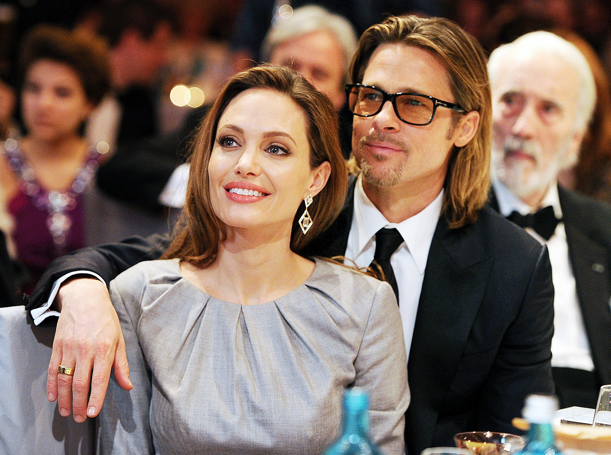 Angelina Jolie and Brad Pitt while they were still married, during a formal event