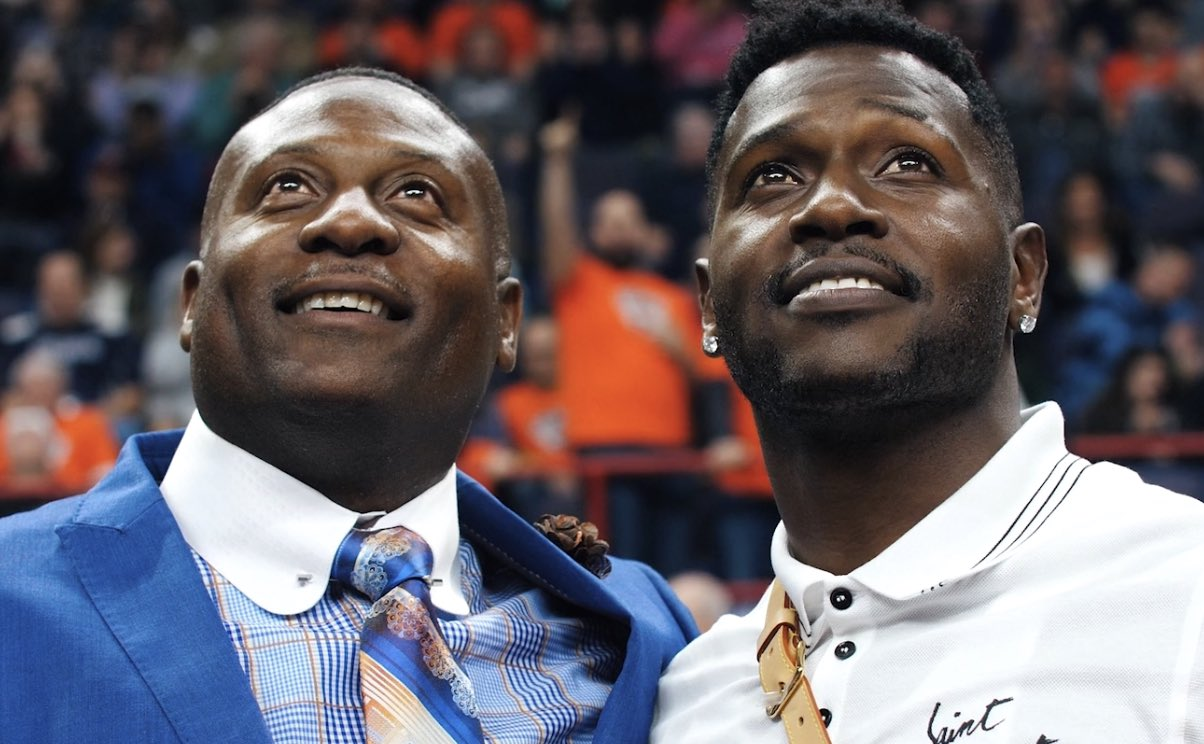 Eddie Brown (left) and his son Antonio Brown (right)